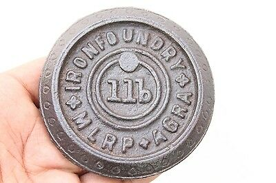 1920s Old Antique IRON FOUNDRY AGRA 1 lb Cast Iron Scale Weight