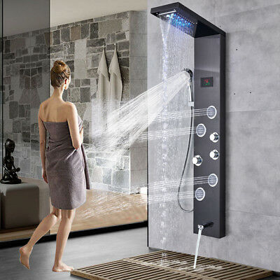 Black Stainless Steel Shower Panel Tower Rain&Waterfall Massagers Body Jet Tap