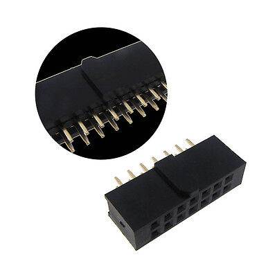 "2x7 Position Female Socket Header Connector 0.1"" 2.54mm Polarizing Key - QTY(5)"