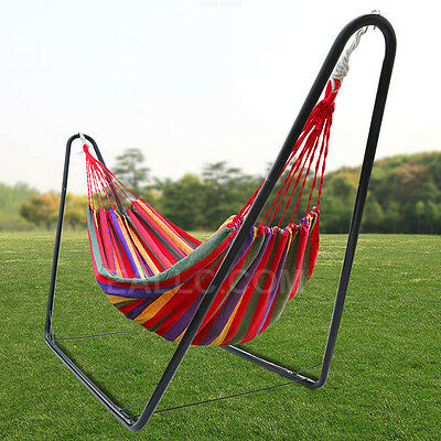 Double Rainbow Hammock Air Chair Steel Frame Stand Combo Free Carrying Bag Yard