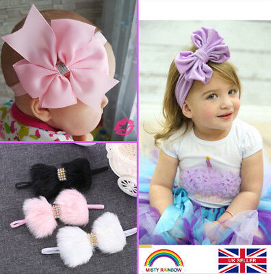 Cute Baby Girls Large Bow Knot Elastic Stretchy Headband Hair Band Accessories