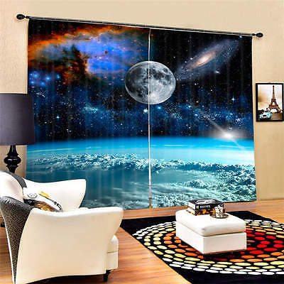 Galaxy Outside Atmosphere 3D Blockout Photo Printing Curtain Draps Fabric Window