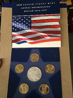 2008 US Mint Annual Set  2008W Eagle-Pres -Sacagawea Dollars