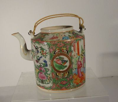 Antique Chinese Rose Mandarin Medallion Teapot Scholars Officials Enamel