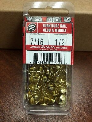 "Richelieu Reliable FNBP71612MR FURNITURE NAIL SOLID BRASS 7/16"" D X 1/2"" L 40/PK"