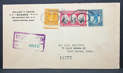 William T. Adams Stamps Grand Rapids USA Registered Stamp Cover Brief (I-8665
