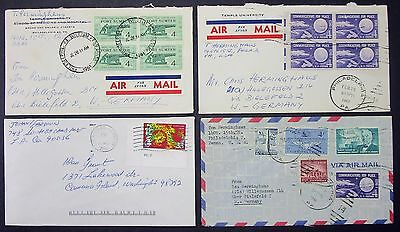 US Postage Set of 4 Airmail Covers Patriotic Stamps USA Luftpost Briefe (Y-171