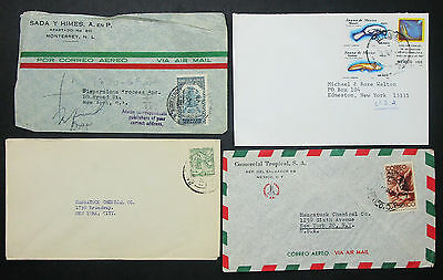 Mexico Postage Set of 4 Covers Envelopes ADV Mexiko Luftpost Briefe (H-10537