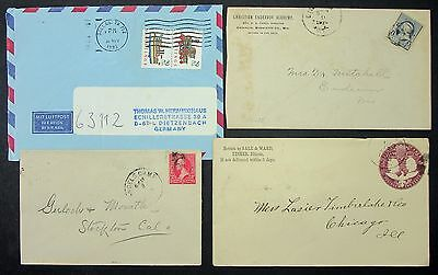US Postage Envelope Airmail to Germany Dallas Fisher MiF - 4 USA Briefe (L-4107