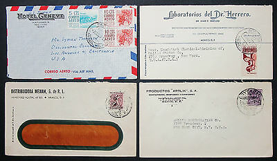 Mexico Postage Set of 4 Covers Hotel Geneve ADV Mexiko Luftpost Briefe (H-10535