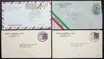 Mexico Postage Set of 4 Covers Envelopes ADV Mexiko Luftpost Briefe (H-10533