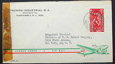 Mexico Airmail ADV Envelope Monterrey Censor EF Mexiko Luftpost Brief (H-10446
