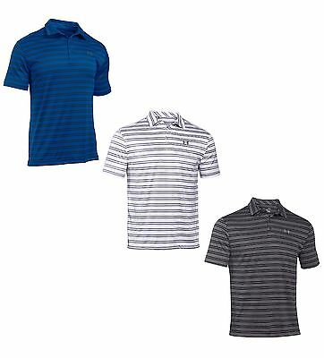 Under Armour Men's UA HeatGear Loose Fit Striped Short Sleeve Golf Polo - NWT