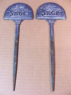 (2) Brass Garden Markers / Herb Labels -- Both Read Sage -- Double Sided - Sage