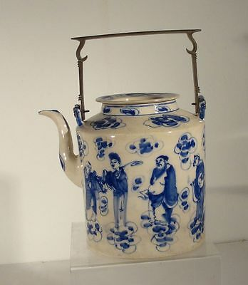 Antique Chinese Underglaze Blue and White Soft Pace Teapot Immortals Scholars