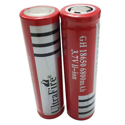 2 X 18650 6800mAh 3.7V Li-ion Rechargeable Battery Flat Top for Power Bank Torch
