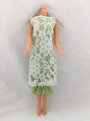 Vintage Barbie Doll Clone Knock Off Outfit GREEN Dress White LACE OVERLAY