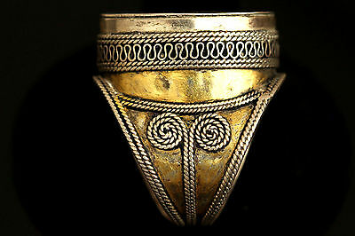 Near Eastern Antique Bukhara Gilt Solid Silver Ring US Size:9