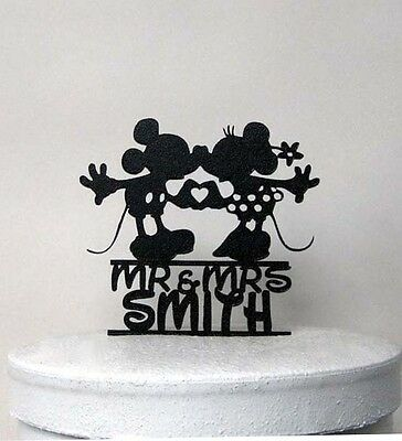 Custom Wedding Cake Topper - Mickey and Minni Wedding with Mr & Mrs name