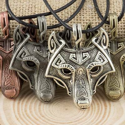 Viking Fenrir Wolf Head Pendant With Cord Necklace - 4 Colours Available