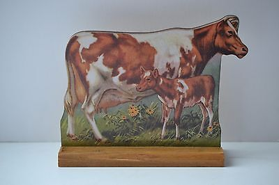 VINTAGE LOOK Stand-Up Barnyard Farm Animal ~ Guernsey Cow and Calf ~ NWT