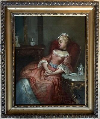 Early 19th century oil painting on canvas signed gilt frame