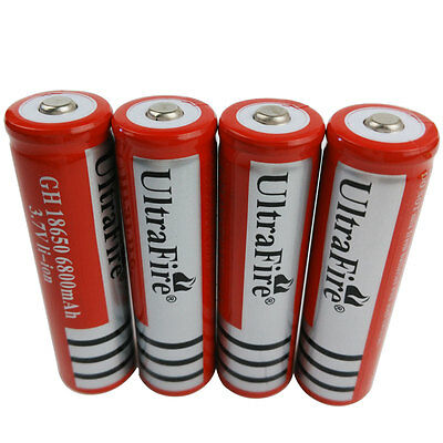 4X 3.7V 18650 Li-ion 6800mAh Rechargeable Battery for Flashlight Torch Laser