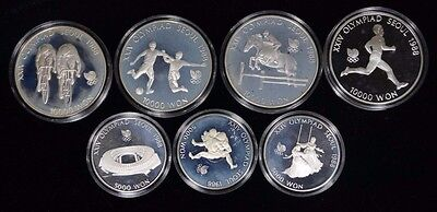 Lot of 7 1986-1988 South Korea Olympic Silver Proof Coins 5.5 Troy oz ASW @ Melt