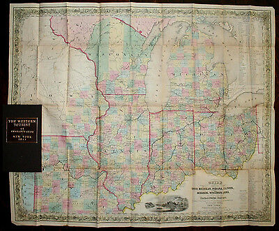 COLTON Western Tourist Emigrant's Guide 1844 Pocket Map Ohio MI IL IN WI MO Iowa