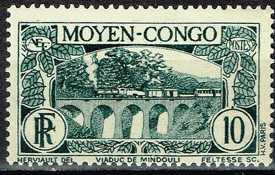 French Middle Congo Equatorial Africa Railroad Bridge Train stamp 1947 MLH