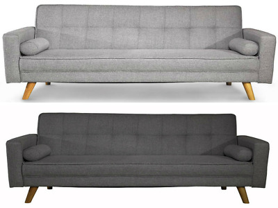 3 Seater Upholstered Sofa Bed Scandinavian Style Wooden Legs w/ 2 Loose Cushion
