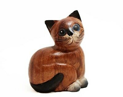"""Small Wooden Sitting Cat, 4"""" tall, Home - Office Decor, Cute Kitty - Hand Carved"""