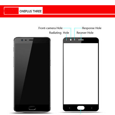 Full Cover Genuine Tempered Glass 9H Screen Protector For One Plus Three 3 Black