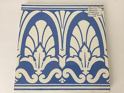 Antique Blue & White Maw & Co Owen Jones Architectural Tile Circa 1880 (S2)