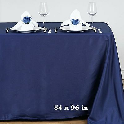"""Navy Blue POLYESTER 54x96"""" RECTANGLE TABLECLOTHS Wedding Party Catering Linens"""