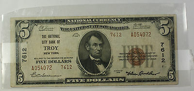 Series 1929 Type 2 $5 National Currency Banknote Troy, New York Charter 7612 (C)