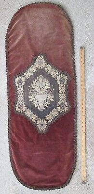 "Antique Maroon VELVET TABLE RUNNER c.1920s Dining Table Piano 52 1/2"" x 19 1/2"""