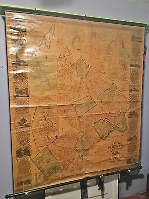 Fairfield County CT Connecticut Wall Map 1856 Richard Clark Hand-Colored Cloth