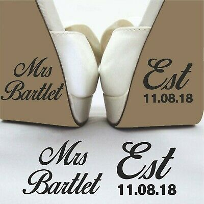 Personalised Mrs Est Wedding Day Funny Brides Shoe Decal Sticker Removable Vinyl