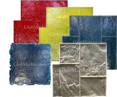 5 Ashlar Concrete Stamp Set. Slate Cement Texture Imprint Stamp Mats SM 3002