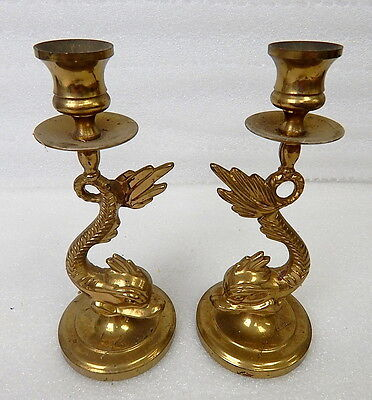 Pair Brass Koi Fish Dolphin Oriental Japanese Theme Candlestick Holders