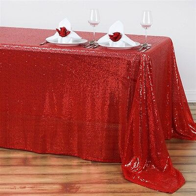 "90x132"" Red SEQUIN RECTANGLE TABLECLOTH Wedding Party Catering Linens"