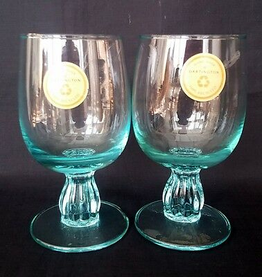 2 x Dartington Heavy Stemmed Turquoise Glasses Hand Made Recycled Glass