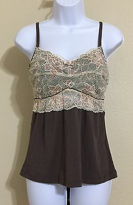 Wendy Glez Women's Brown & Beige Imported Italian Lace Bust Cami Size L NWT
