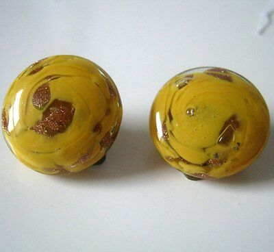 Vintage Yellow  Murano Glass Button Clip On Earrings, Made in Italy