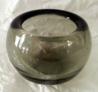 "Holmegaard Smoked Glass Per Lutken (?) ""Provence"" Style Bowl 4 Inches Wide"