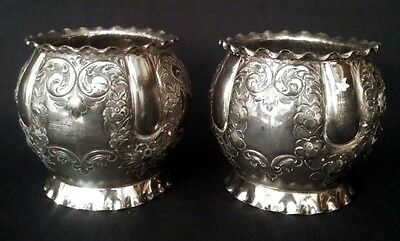 Pair Antique Silver Plated Repoussé Bowl By Atkin Bros. c.1853-1880