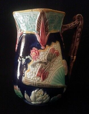 19th C. Majolica Mintons Pottery Dragonfly Syrup Jug 6½ Inches