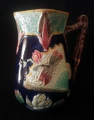 19th C. Majolica Mintons Pottery Dragonfly Syrup Pitcher 6½ Inches