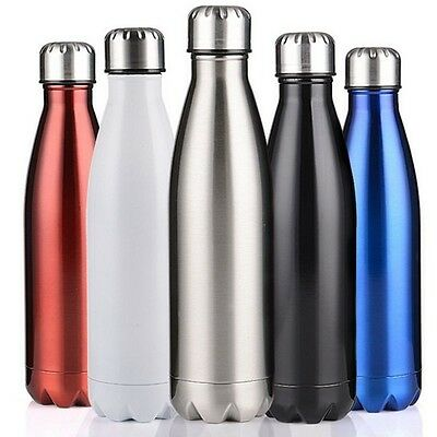 0.5-1L Vacuum Insulated Water Flask Thermos Stainless Steel Double Wall Bottle
